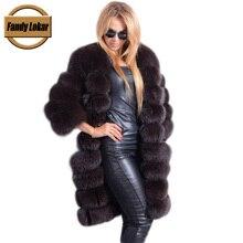 Fandy Lokar  90cm Genuine Fox Fur Coats Women Real Fur Jacket Warm Long Nine Quarter Sleeves Female Natural Fox Fur Coat Ladies