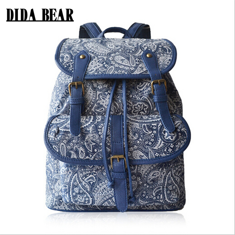 DIDA BEAR New Women Canvas Backpacks Girls Large Capacity Travel Bags Bolsas Mochila Feminina Students School bag Sac A Dos women genuine leather backpack luxury soft solid large capacity school bag ladies travel backpacks sac a dos mochila 2017 new
