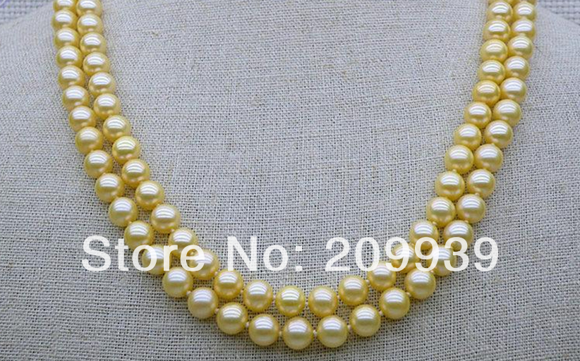 Livraison gratuite 003374 2STD 6.5-7mm AAA + rond d'or jaune akoya perle collier 14 solide or 17/18