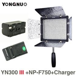YONGNUO YN300 III 5500K 300 LED Light On Camera Lighting for Wedding YN300III LED Panel Light with NP-F750 battery Charger