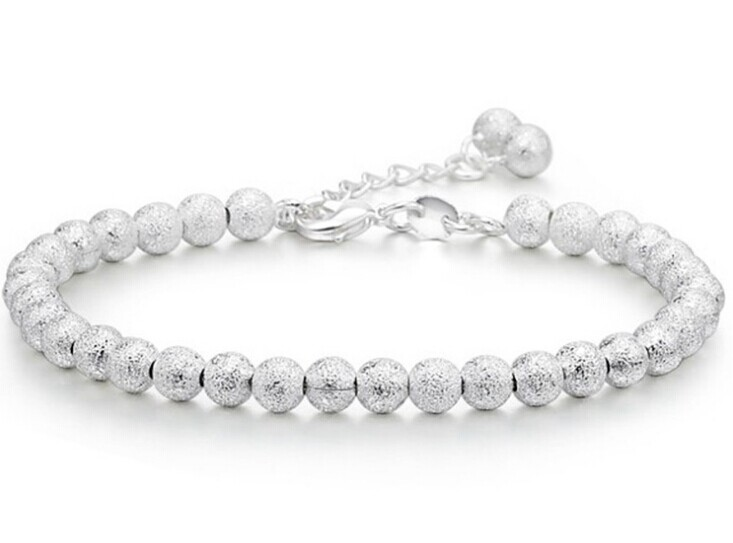 925-BG03 Trend Accessories 925 Pure Silver Bracelet 5MM Beads Bracelet Ball Chain Bracelet for Women Factory Price The Gifts chain