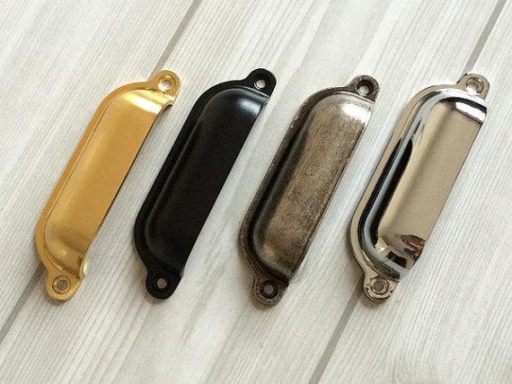 Retro Bin Drawer Pull Dresser Pulls S Handles Shell Cup Cabinet Gold Black Silver