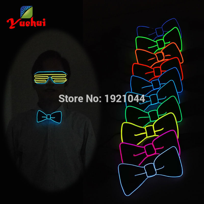 New Fashion Blue Flashing 10 Color Light Up Neon Rope Light Bow Tie Glowing EL Wire BOW TIE For Evening Wedding Party Decor