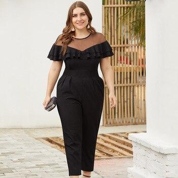 Slim Plus Size Women Long Jumpsuit 2019 New Fashion Summer Ladies Elegant Solid Black Jumpsuit Womens Hollow Casual Bodysuit
