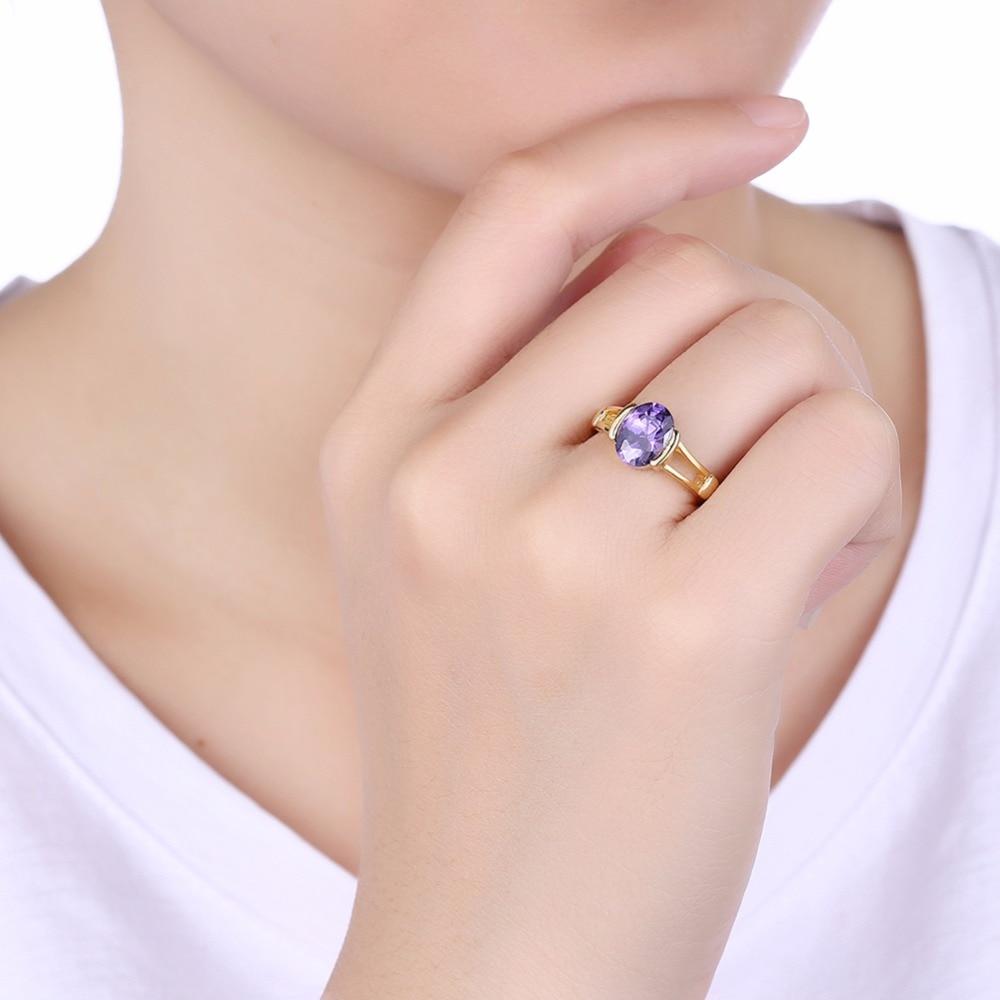 GNIMEGIL Brand Jewelry Women Rings Gold and Purple Color Copper ...