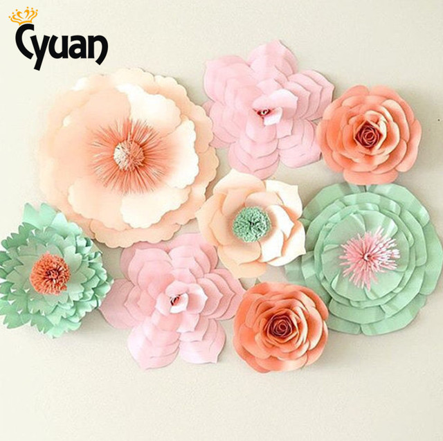 Cyuan 2PCS Cute DIY Flower Paper BackDrop Wedding Decoration