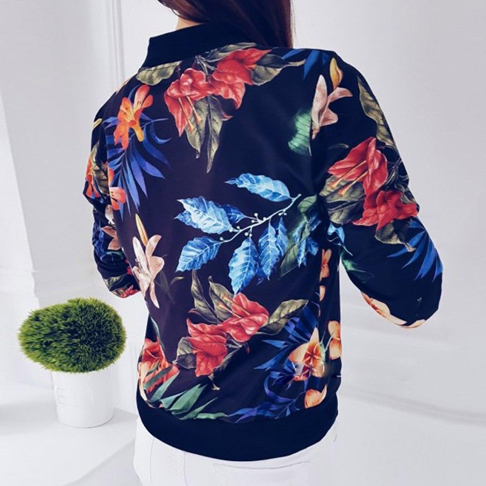 Fit Chaqueta Mujeres Flor Chaquetas De Femenina La Impresión Señoras Blue Floral Outwear Hop Zipper Bomber Otoño Hip white Las Slim zOqYdwxOZ