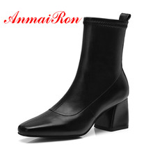ANMAIRON Women Ankle Boots Fashion Shoes Woman Causal Black Boots Thick High Heels Square Toe Boots for Ladies Size 34-39 CR1023 anmairon fashionhigh heels round toe platform shoes woman black shoes sexy red zippers ankle boots for women large size 34 43