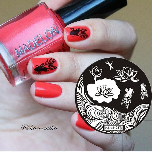 Prego Selo Arte Carimbar Template Placa Onda Peixe Lotus Libélula Nail Art Stamp Template Imagem Placa hehe037