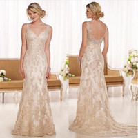 Wedding Dress 2017 Bridal Charming V Neck Crystals Lace Bridal Gowns Trumpet Style Low Back Champagne