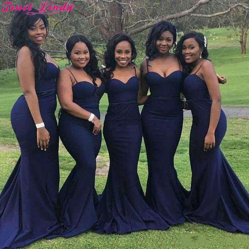 Elegant Spaghetti Straps Mermaid   Bridesmaid     Dresses   2018 Cheap Satin Maid of Honor Gowns Wedding Guests Party Wear Plus size