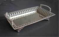 15x10 rectangle silver plated alloy metal serving tray fruit dish decorative storage tray floral cut out handle 320M