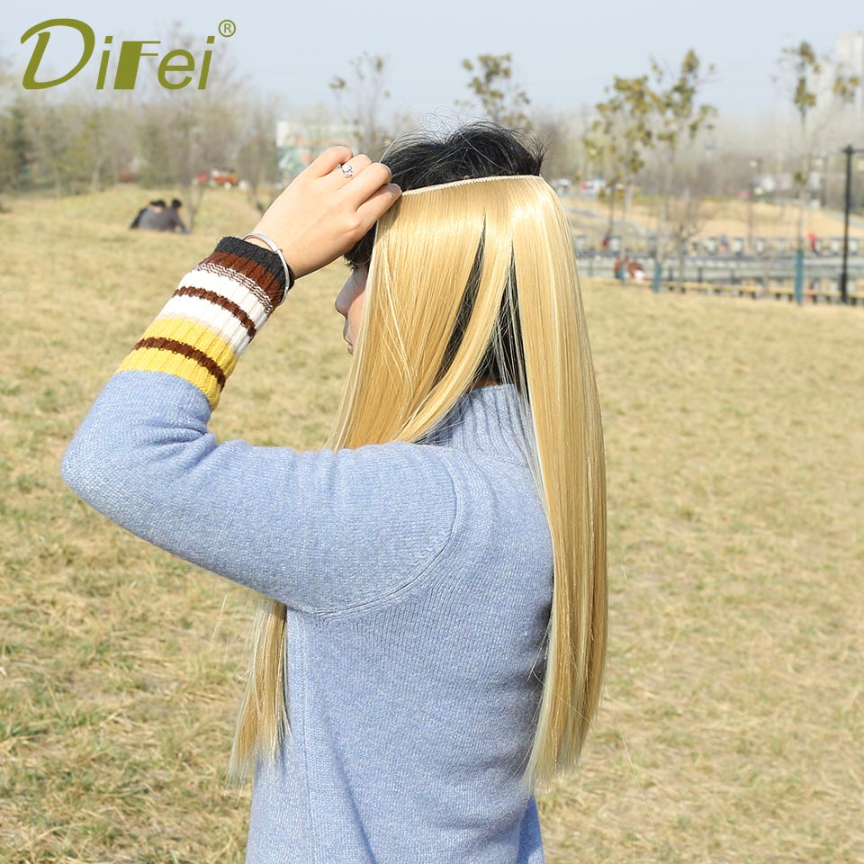 DIFEI Fish Line Hair Extensions Black Brown Blonde Natural Wavy Long High Tempreture Fiber Synthetic Hairpiece 22 Inch Women ...