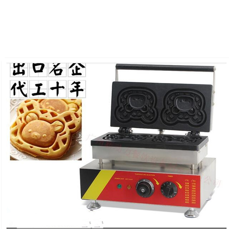 110V/220V Commercial Electric Waffle Maker Cartoon Shaped Waffle Machine Non-stick 2pcs Free Shipping EU/AU/UK/US Plug