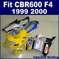 ABS factory Injection fairing kits for HONDA 1999 2000 CBR600F4 CBR600 99 00 F4 CBR600F yellow white motorcycle fairngs set