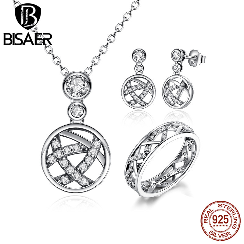 BISAER Authentic 925 Sterling Silver White Crystals Stackable Clear CZ Jewelry Sets Wedding Engagement Jewelry HPS029 браслет с брелоками seendom jewelry 925 pulseiras cz xoxo pbs105