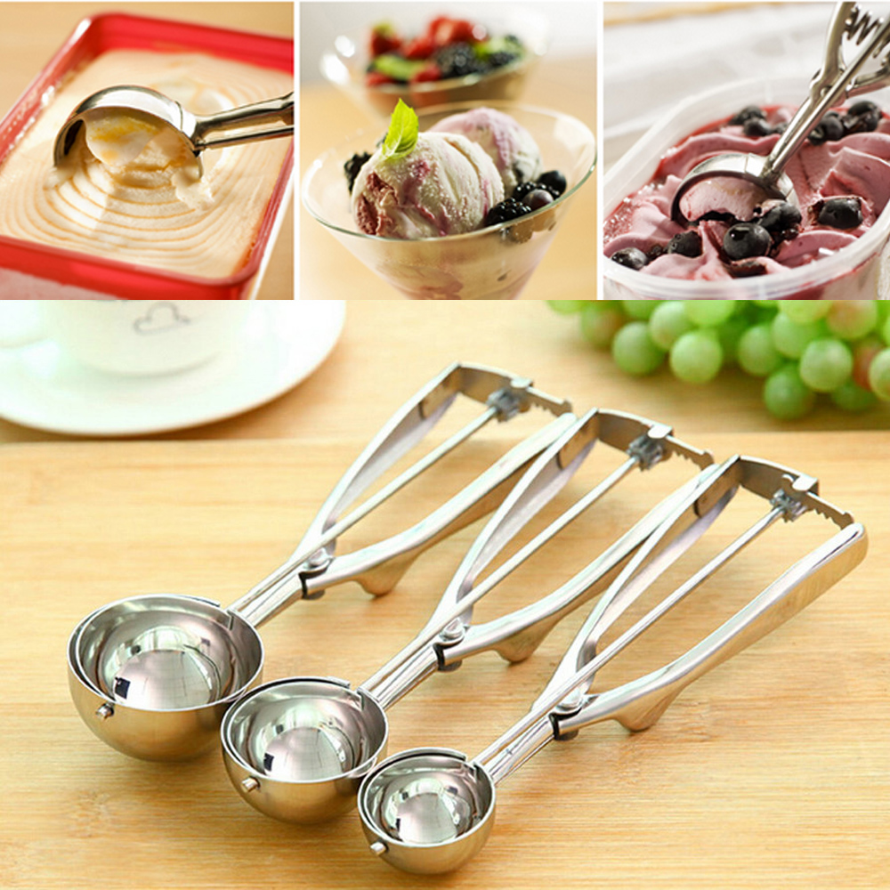 New Kitchen Ice Cream Mash Potato Scoop Stainless Steel Spoon Spring Handle Kitchen Accessories Wholesale 3 size for choose image