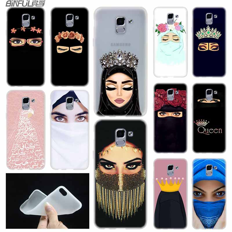 Arab Woman With Niqab Face eye case Cover TPU Coque For Samsung Galaxy J6 J8 J3 J5 J7 J4 J2 J1 Plus 2018 2016 2017 EU Prime Ace