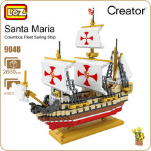 LOZ Pixel Blocks Boat Santa Maria Ship Model Building Kits Micro Block Toy Puzzles For Children DIY Bricks Education Gift 9048