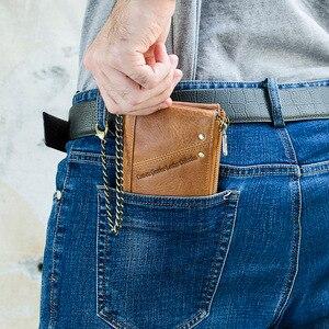 Image 5 - CONTACTS جلد أصلي للرجال محفظة بشريحة RFID مع مكافحة سرقة سلسلة حاملي بطاقة الذكور محفظة صغيرة مزدوجة سستة محفظة نسائية للعملات المعدنية خمر