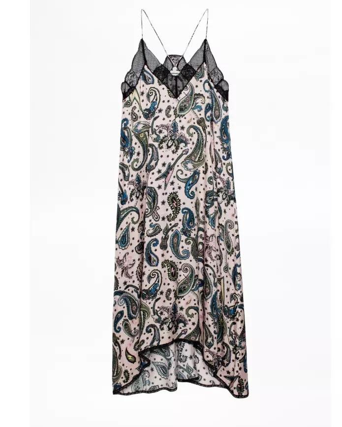 100% wiskoza kobiety sukienka nerkowca drukowane Halter letnia sukienka koronki francuski romantyczny Paisley druku długa Midi sukienka dla kobiet w Suknie od Odzież damska na  Grupa 2