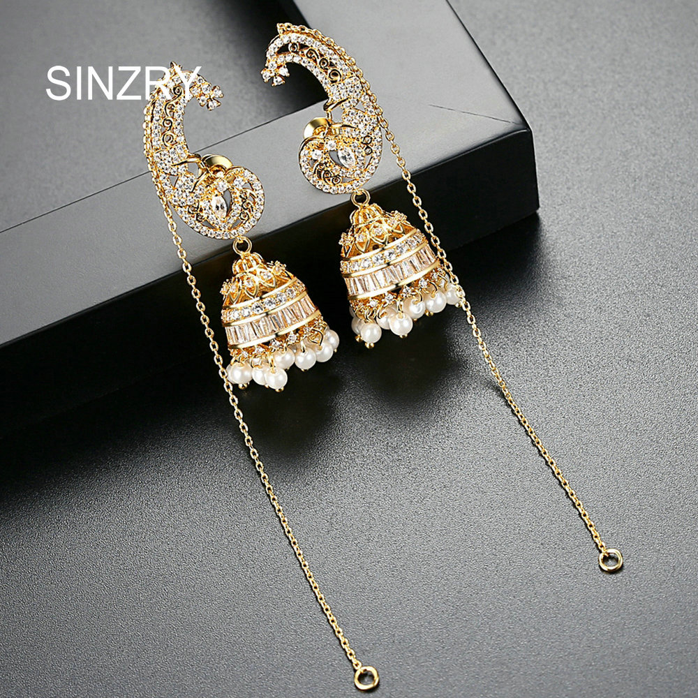 SINZRY exquisite bridal dangle earrings cubic zircon gold color imitation pearl windbell tassel earrings for women pair of exquisite rhinestone peach blossom earrings for women