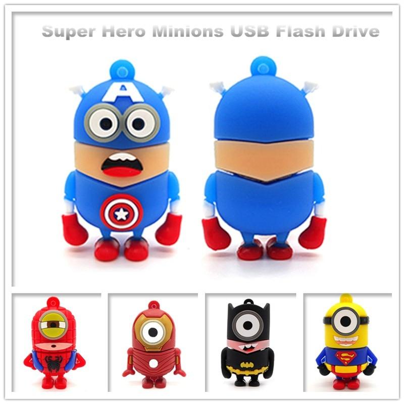 Pen drive cartoon superheros usb flash drive 64GB cute Minions memory stick 32GB 16GB 8GB 4GB superman creative gift pendrive-in USB Flash Drives from Computer & Office