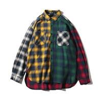 Stylish Hip Hop Clothing 2018 Unisex Spring Autumn Patchwork Grid Shirt Women Vintage Loose Plus Size