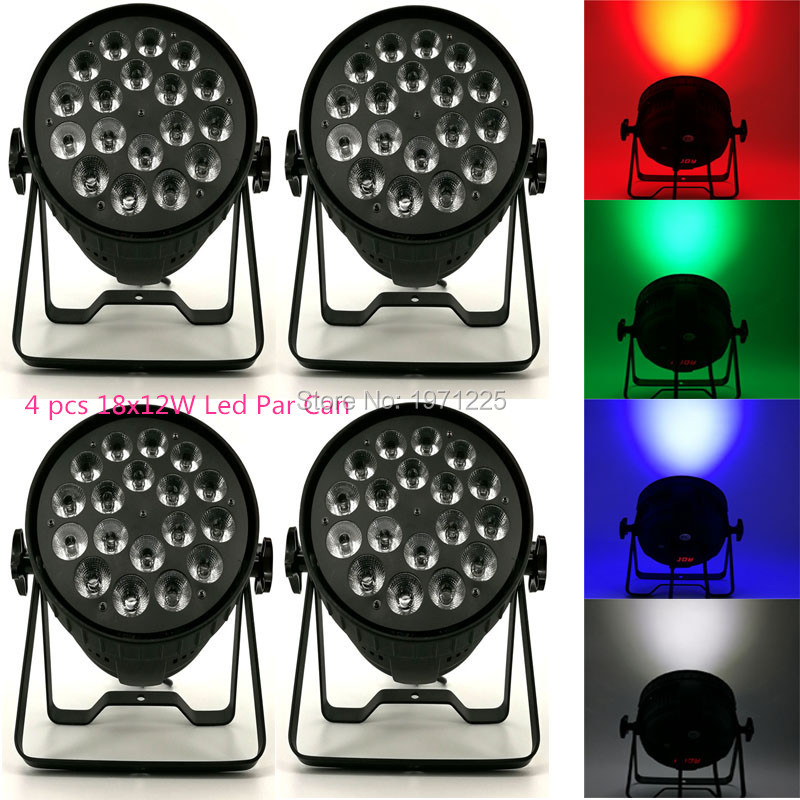 (4pcs) Disco Lamp stage light 8 channels LED Par Can RGBW 18x12W for Discos Music Stage Effect transctego led stage lamp laser light dmx 24w 14 modes 8 colors disco lights dj bar lamp sound control music stage lamps