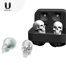 UARTER DIY 3D Silicone Ice Cube Molds Whiskey Cocktail Ice Ball Ice Cream Mold Maker Tray Halloween Party Spooky Bar Skull Tool