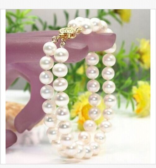 double strands9-10mm south sea white pearl bracelet 7.5-8inchdouble strands9-10mm south sea white pearl bracelet 7.5-8inch