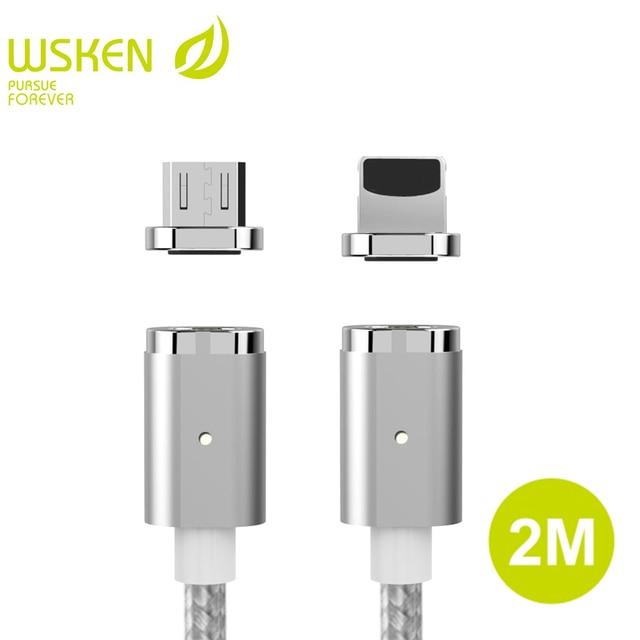 2 M Kabel WSKEN Mini 2 Magnetik Untuk iPhone Kabel Magnetic Charger cepat Pengisian Micro USB Kabel Untuk Samsung Huawei Xiaomi S7 Tepi