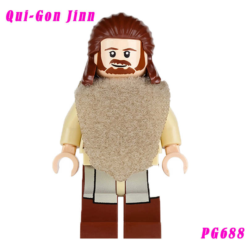 Star Wars Qui-Gon Jinn Building Blocks With Green Lightsaber Diy Figures Super Heroes Bricks Kids Diy Educational Toys Pg688
