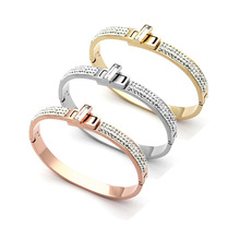 TYME Female Gold-color Metal Cuff H Bracelets Bangles for women Classic Stainless Steel Crystal Lover Bracelet Pulseiras jewelry