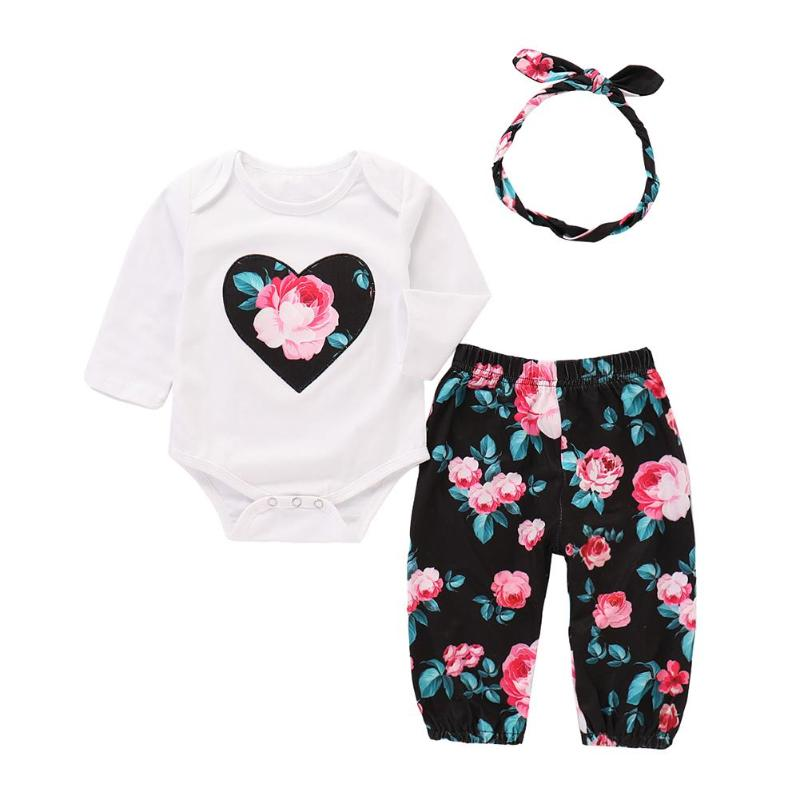 Pants Outfits-Clothes Romper Headband Floral-Print Newborn 0-24M Fashion 3pcs/Set Kid