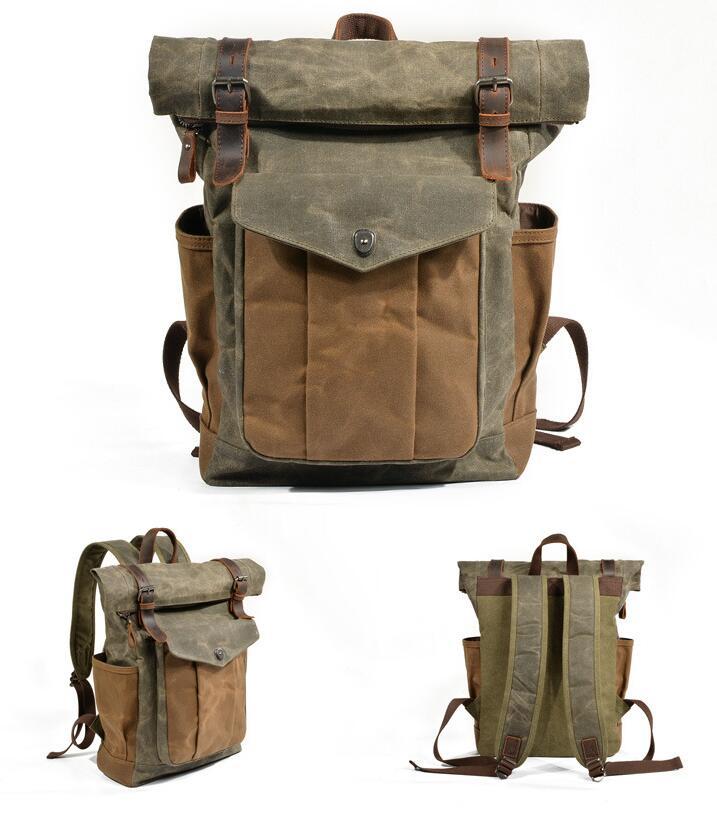 Nouveau luxe Vintage toile sacs à dos pour hommes huile cire toile cuir voyage sac à dos grand imperméable Daypacks rétro sac à dos