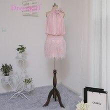Dressgirl Rosa 2017 Homecoming Kleider Mantel Halfter Short Mini Chiffon Spitze Feder Wulstige Kristalle Cocktailkleider