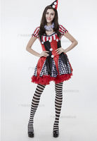 Dress+headwear Circus Funny Harley Quinn Costume Women uniform Female Clown Cosplay Carnival Halloween Black Red set Costumes
