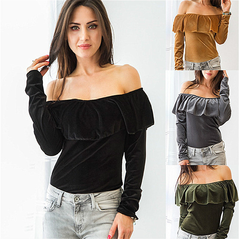 Off The Shoulder Tops For Women T-Shirts Long Sleeve Autumn Winter Pullover Crop Tops Harajuku Female Clothing 2016