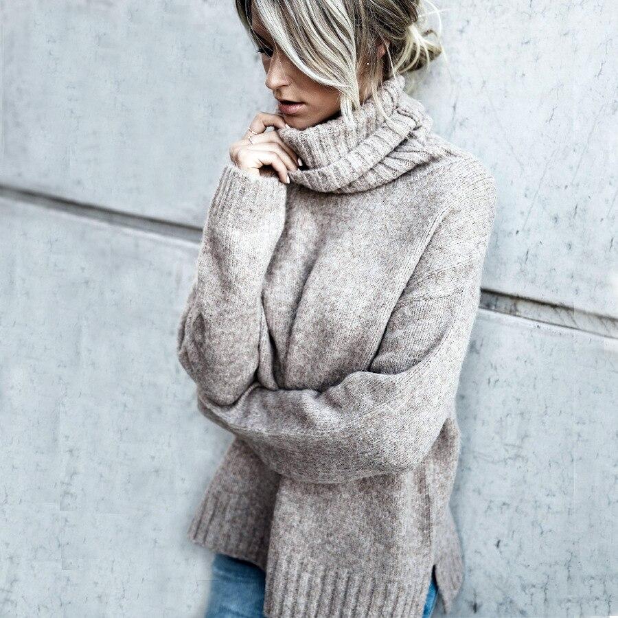 Mujeres gris Alto Sólido Invierno Cálido Tops Y Negro Suéter Pullovers Mujer Otoño Señoras Las E Grueso caqui 2018 De Cuello Sudaderas wHqvPYEx