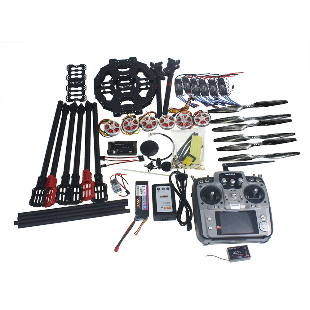 JMT Full Set Hexacopter Drone 6-axle Aircraft Kit Tarot FY690S Frame 750KV Motor GPS APM 2.8 Flight Control AT10Transmitter diy set pix4 flight control zd850 frame kit m8n gps remote control radio telemetry esc motor props rc 6 axle drone f19833 d