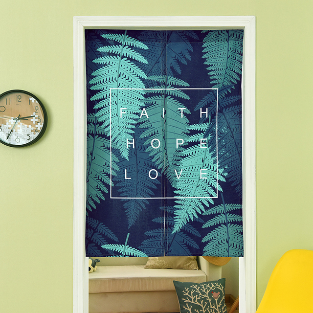 Green Plant Bamboo Door Curtain Linen Tapestry Leaves Children Study  Bedroom Home Decor Bedroom Kitchen Curtain