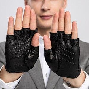 Image 3 - הגעה חדשה אביב גברים של עור אמיתי כפפות נהיגה קמטים 100% נאד חצי אצבע כפפות ללא אצבעות כושר כושר כפפות
