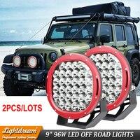 Round Led driving lights 12V 24V LED truck lights 9inch High power 96W led off road lights for 4x4 Boat Auto Wrangler x2pcs/lots