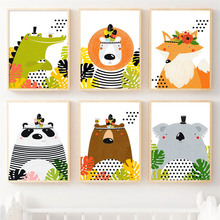 Wall Art Canvas Painting Lion Fox Bear Crocodile Koala Panda Animal Prints Nordic Posters And Pictures Baby Room