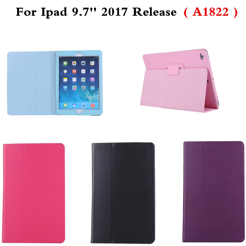 For New 2017 Release iPad 9.7 inch Tablet PC Ultra Slim Lightweight Lichee pu Leather Stand Cover Smart Book Kids Case