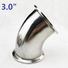 OD 3.0inch Tri Clamp 91mm 304 Stainless Steel Sanitary Ferrule 45 Degree Elbow Pipe Fitting For Water Oil Gas