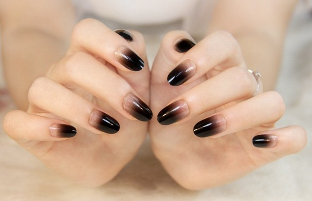 Full Cover False Nail Tips Almond Shape Fake Acrylic Art Tip Natural Clear Black Color