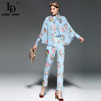 LD LINDA DELLA Runway Designer Casual Two Piece Suits Women S Set Long Sleeve Cloak Blouse
