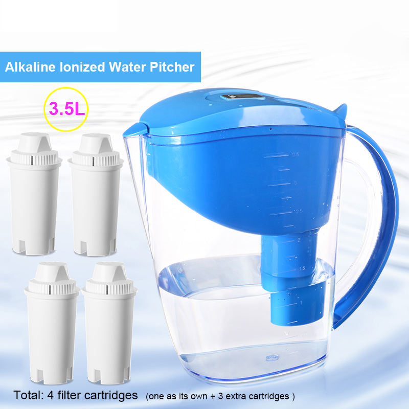 Brita-similar Alkaline Water Filter Pitcher- Pack 4 Filter Cartridges -3.5L Blue Mineral Ionized Water Pitcher Filtro de aguaBrita-similar Alkaline Water Filter Pitcher- Pack 4 Filter Cartridges -3.5L Blue Mineral Ionized Water Pitcher Filtro de agua